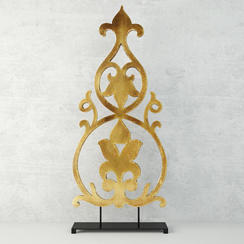 3D model large scroll-design table decor