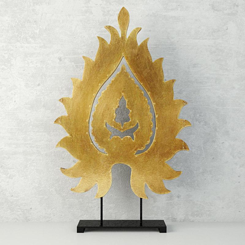small leaf-design table decor 3D model