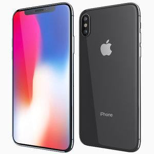 3D model apple iphone x dark grey