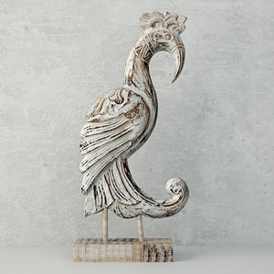 3D wood sculpture noble cendrawasih