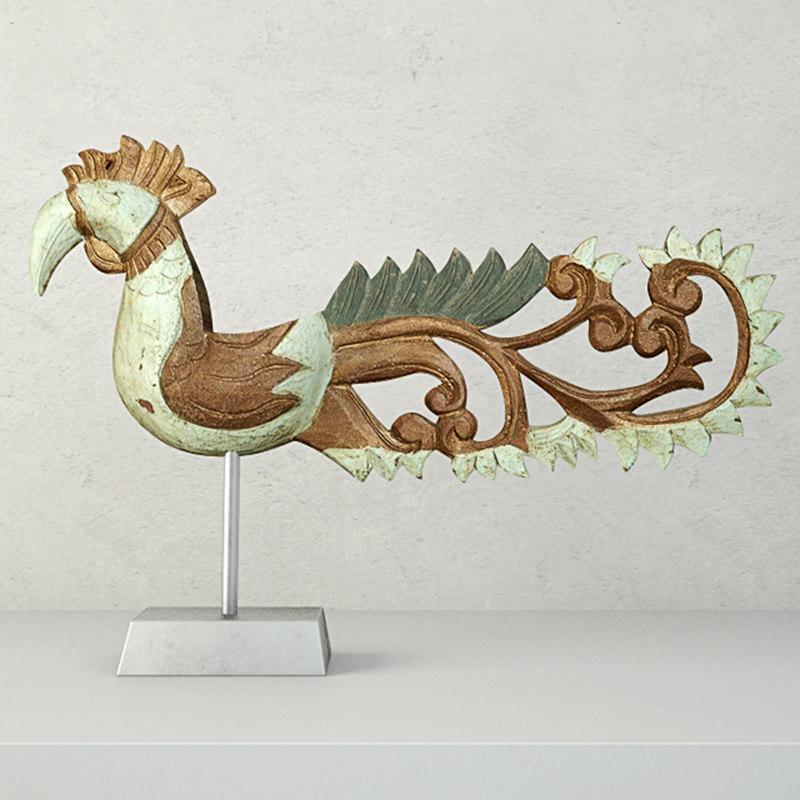 antique bird stand jeffan 3D model