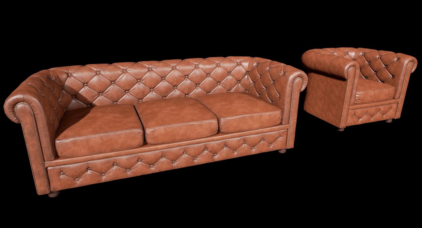 3D model chesterfield sofa armchair vr