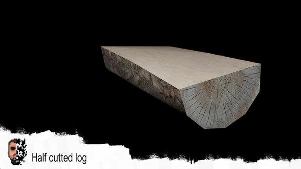 half-cut log tree 3D model