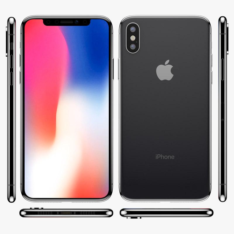 3D apple iphone x dark grey