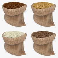 realistic sack rice set 3D model