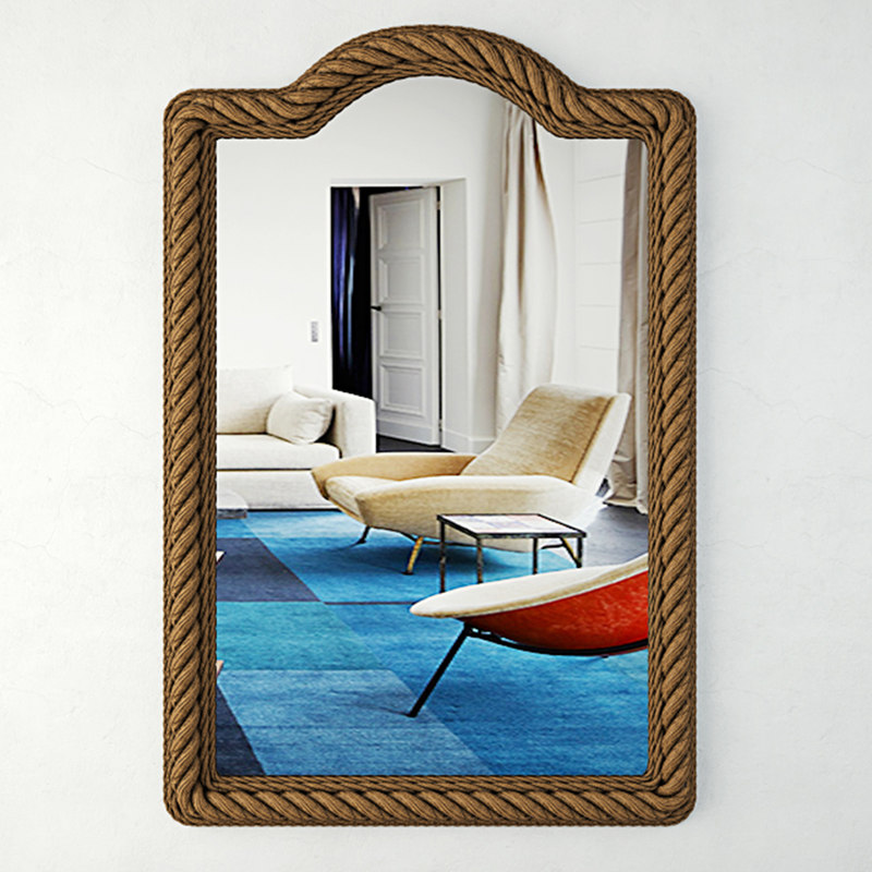 3D rectangle rope wall mirror model