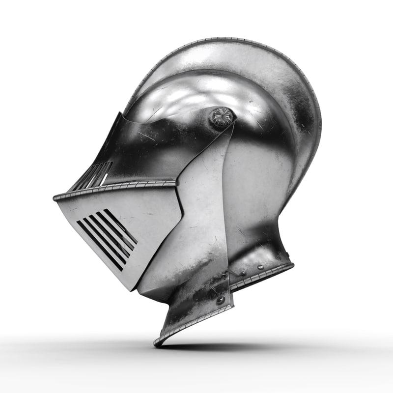 3D model medieval knight armet helmet visor