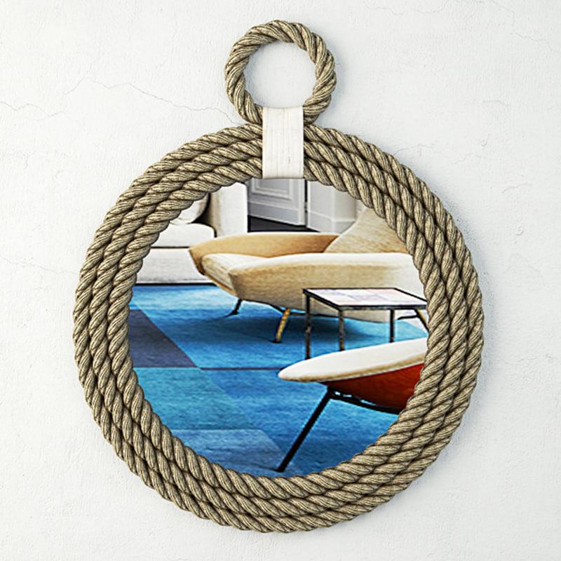 3D whitewash jute rope mirror model