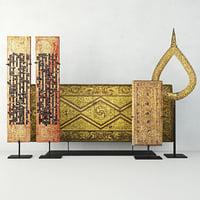 3D antique burmese decoration