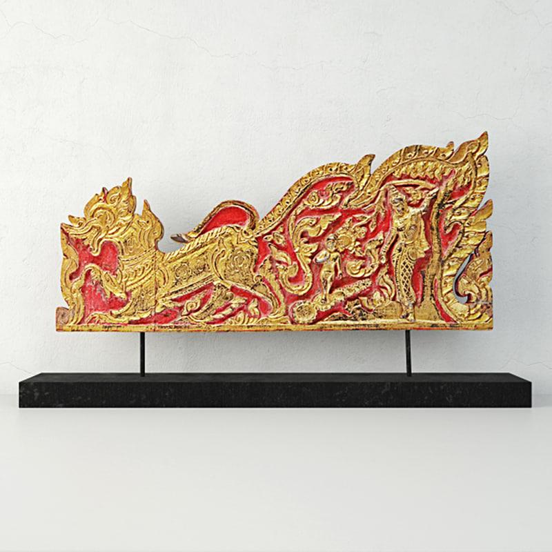 antique thai monks gilded 3D model