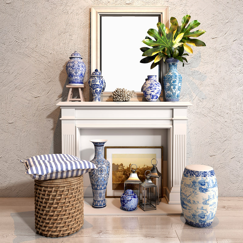blues vase decor collections model
