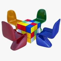 modern kids table chair 3D model