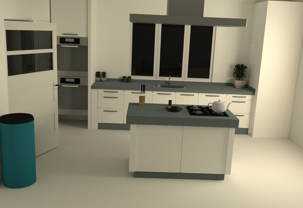 simple kitchen scene 3D model