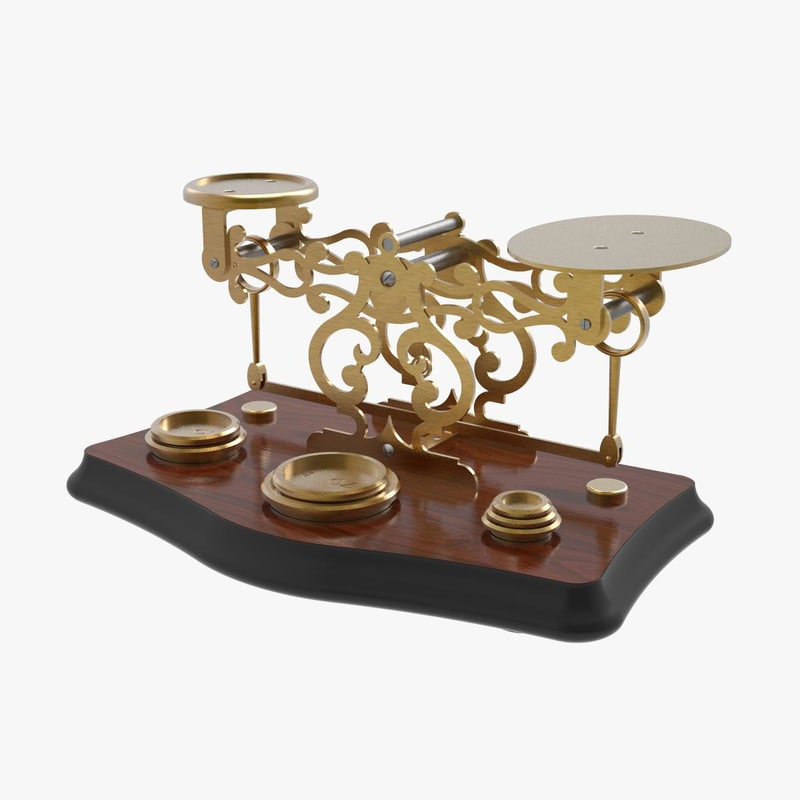 3D model antique postage scales