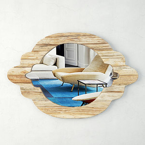 natural wood mirror zara 3D model
