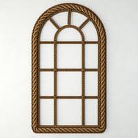 3D model woven jute arch wall