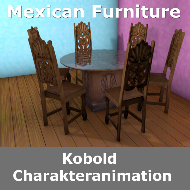 mexican table chair 3D