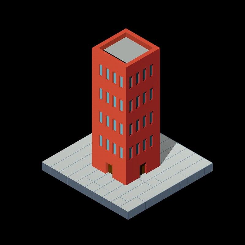 isometric building 3D model
