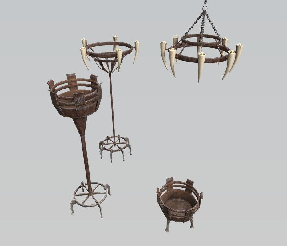 3D dungeon castle light sources model