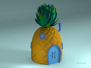 3D house spongebob pineapple model