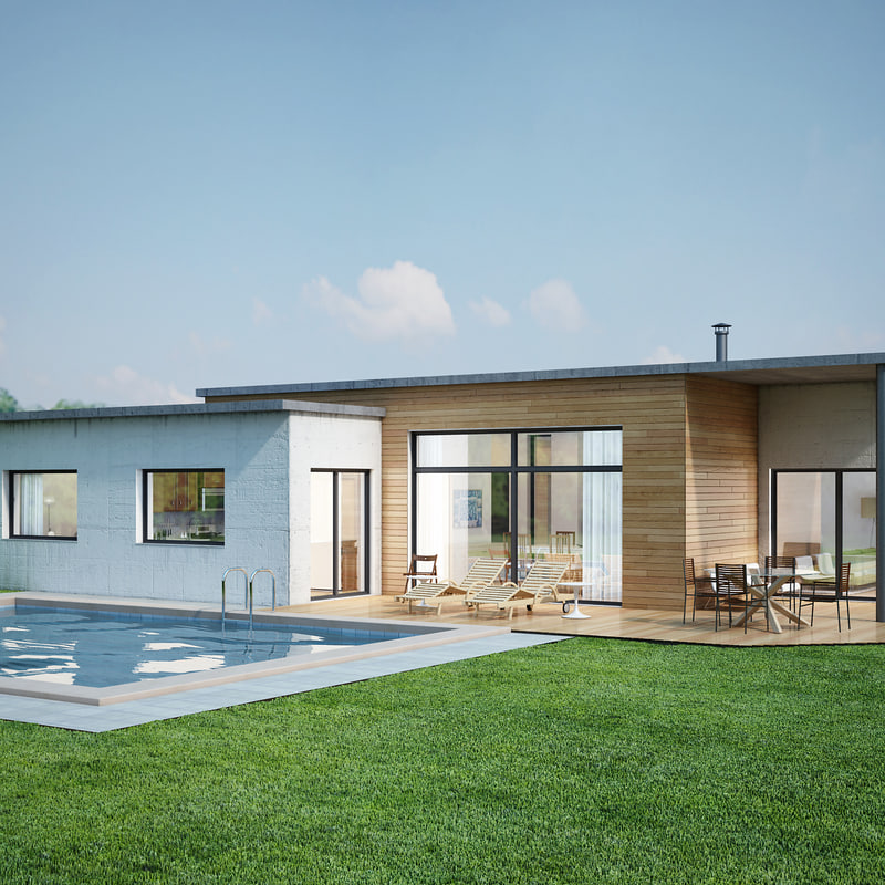 3D contemporary house interior model