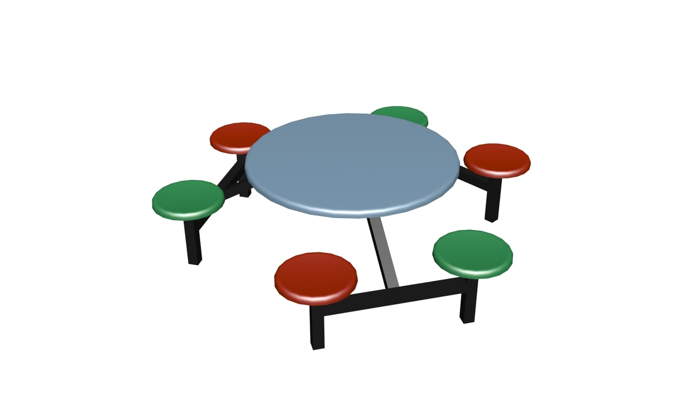 rounded table chair 3D model