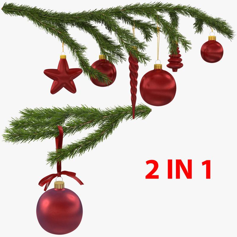 christmas fir branch 2 3D model