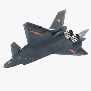 stealth chengdu j-20 rigged 3D model