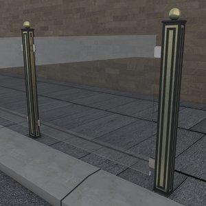 3D model railing glass