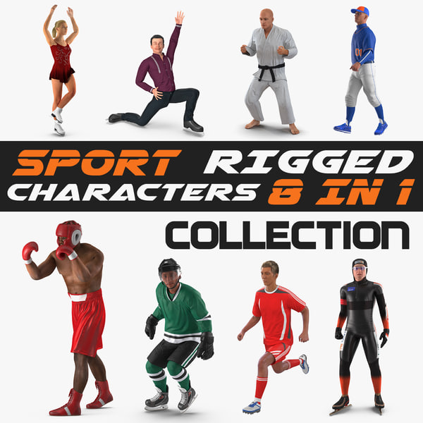 rigged sport characters female 3D model