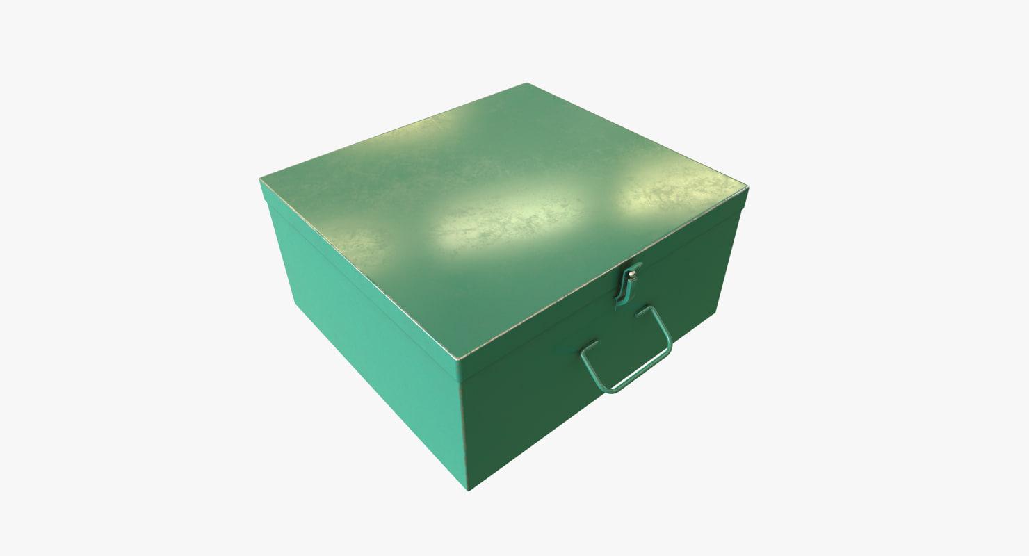 green metal box 3D