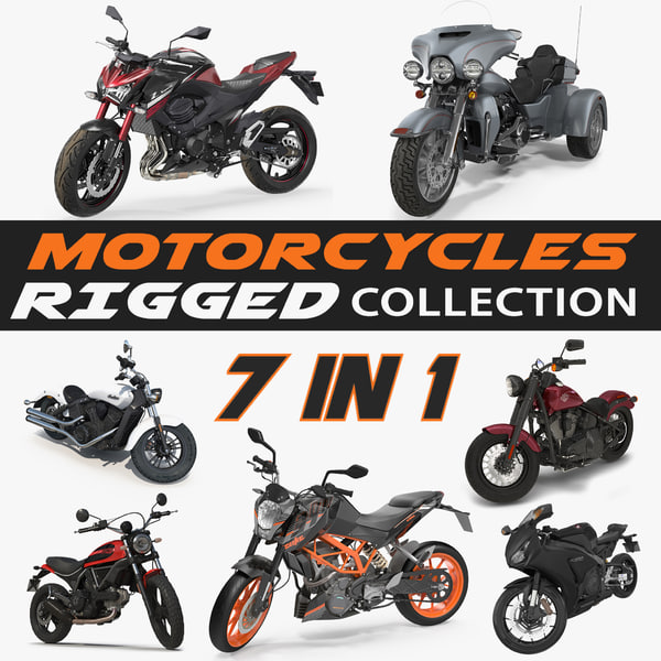 3D rigged motorcycles