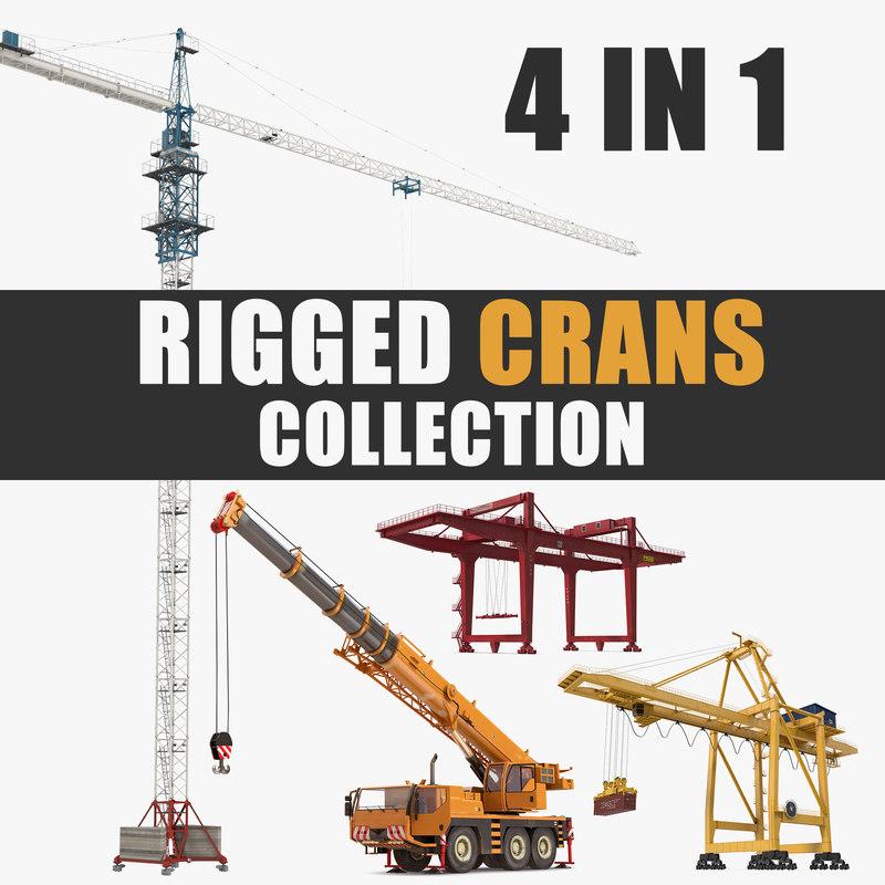 rigged cranes 3D