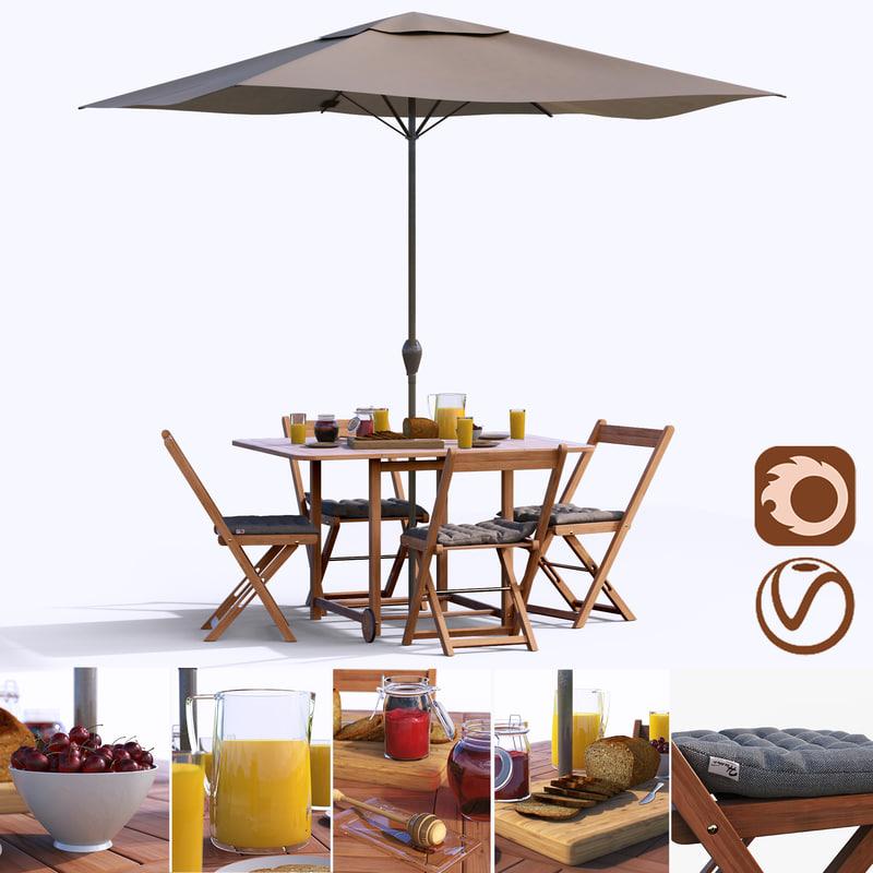 3D set table umbrella model
