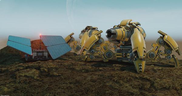 spider tank m-04 yellow 3D