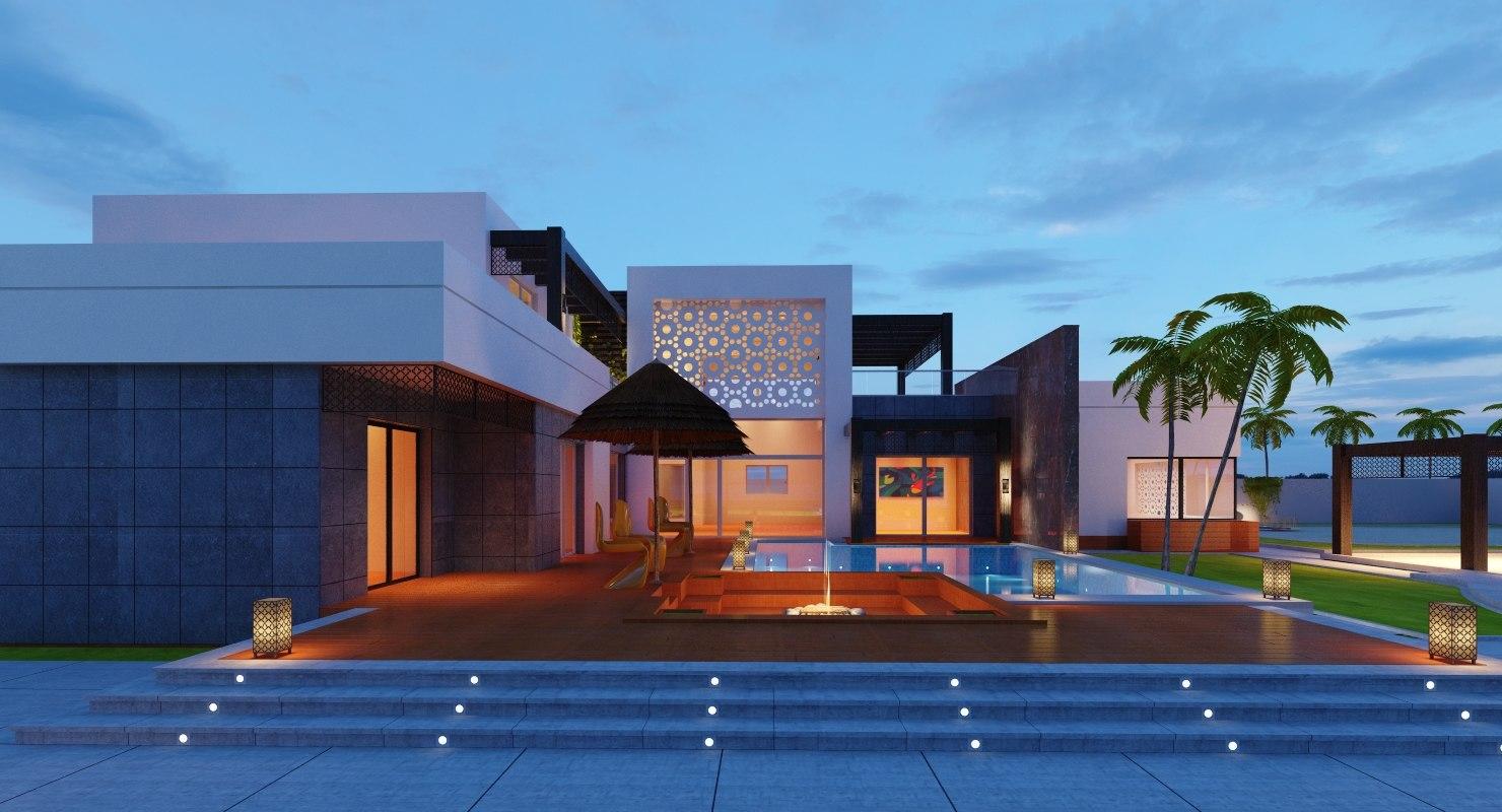 Modern villa landscape model turbosquid 1203435 for Model villa moderne
