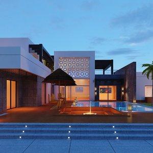modern villa landscape model