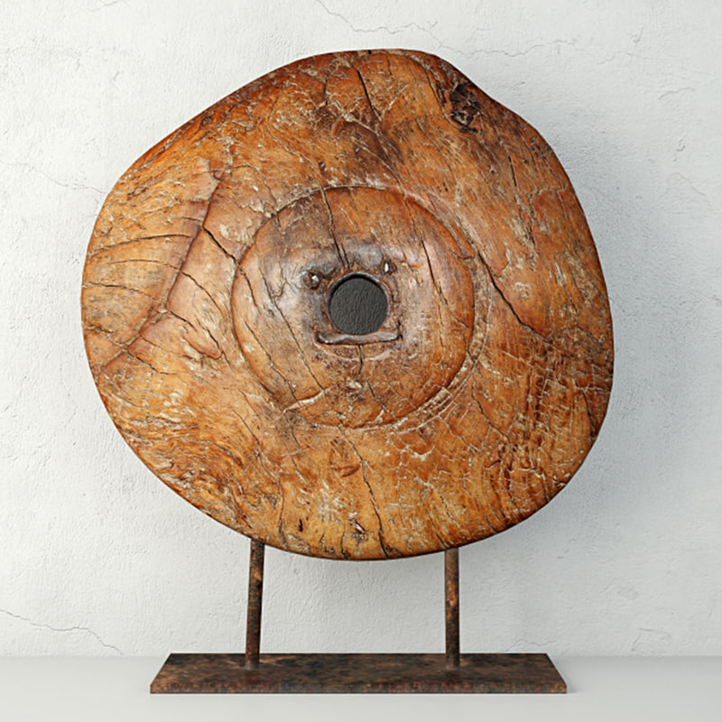 3D 19th century wooden wagon wheel
