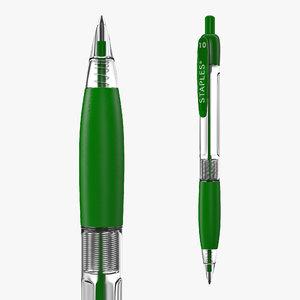 retractable ballpoint pen green 3D model