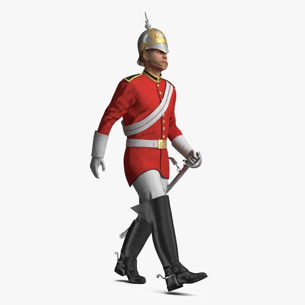 queens royal soldier lifeguards 3D model