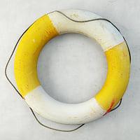 1950s yellow white life preserver 3D model