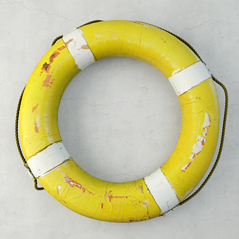 1950s yellow nautical life preserver model