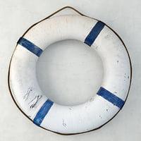 3D blue white life preserver model