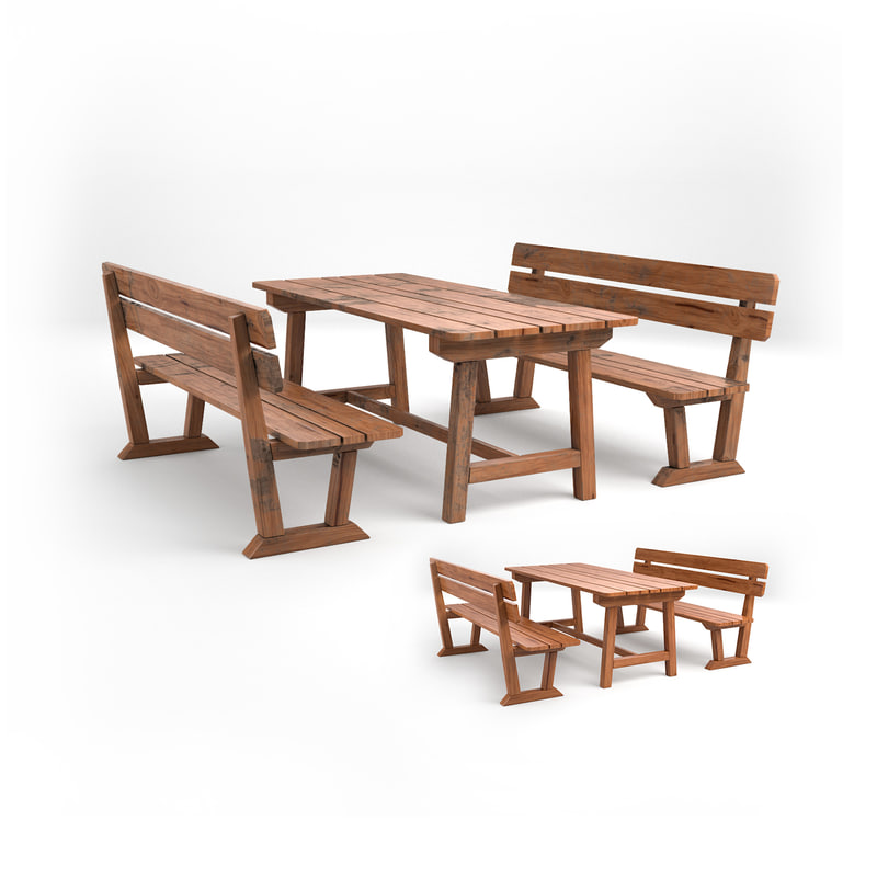 3D seating set wood model