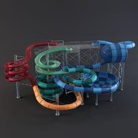 3D water park slides model
