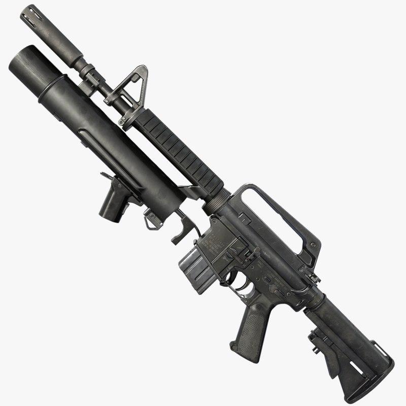 xm177 grenade launcher 3D model