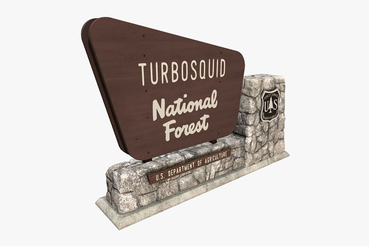 3D national forest stone sign