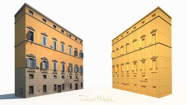 3D old building facade model
