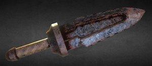 pixelated fantasy dagger 3D model
