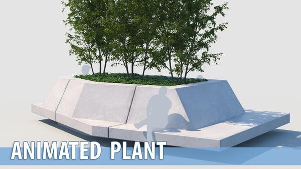 3D model street park bench trees